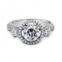 18k White Gold Elegant Three Stone Halo Diamond Engagement Ring NK18727-W