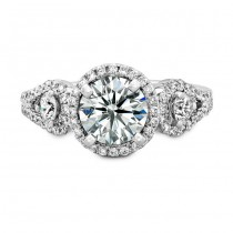 18k White Gold Halo Diamond Engagement Ring with Side Stones