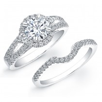18k White Gold Diamond Pave Split Shank Bridal Ring Set