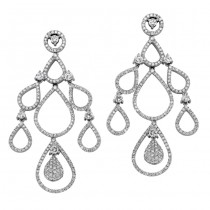 18k White Gold Pave Diamond Chandelier Drop Earrings NK19117-W