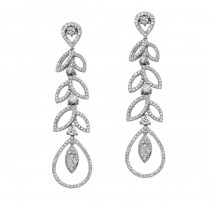 18k White Gold Cascading Leaves Diamond Earrings - NK19131-W