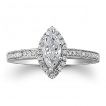 18k White Gold Marquise Halo Diamond Semi Mount Engagement Ring NK19372ENG-W