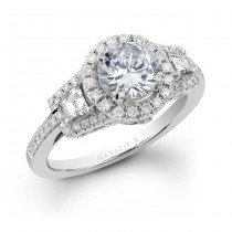 18k White Gold Three Stone Halo Baguette Diamond Engagement Ring