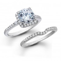 18k White Gold Halo Prong Diamond Bridal Set