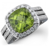 14k White Gold Diamond Peridot Ladies Ring NK20063P-W