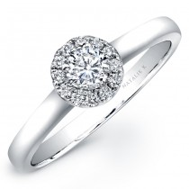 18k White Gold Diamond Halo Sleek Band Engagement Ring