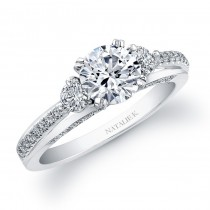 14k White Gold Micro Prong Three Stone Diamond Semi Engagement Ring NK20401ENG-W