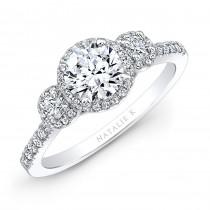 18k White Gold Three Stone Diamond Halo Engagement Ring
