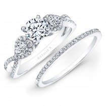 18k White Gold White Diamond Twisted Shank Bridal Set with Pear Shaped Side Stones