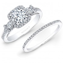 18k White Gold Square Halo White Diamond Bridal Set