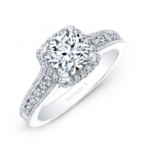 14k White Gold Pave Halo Diamond Engagement Ring with Milgrain