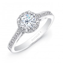14k White Gold Halo Diamond Engagement Ring NK25805-W