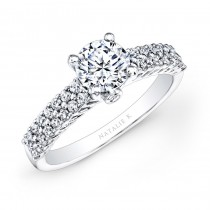 18k White Gold Prong Set Raised Shank White Diamond Engagement Ring NK26150-W
