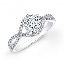 18k White Gold Twisted Shank Diamond Engagement Ring