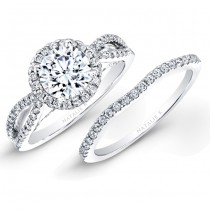 18k White Gold Split Shank Halo Diamond Bridal Set