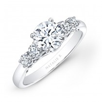 14k White Gold Prong Bezel Set White Diamond Engagement Ring