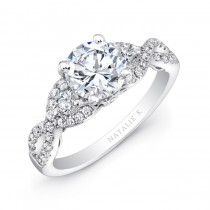 18k White Gold Split Shank White Diamond Engagement Ring