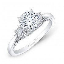 14k White Gold Three Stone White Diamond Engagement Ring