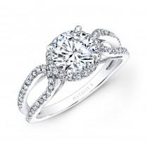 14k White Gold Split Shank Halo Diamond Engagement Ring