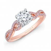 18k White and Rose Gold Twisted Shank Pink Diamond Engagement Ring