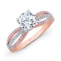 18k Rose and White Gold Pink and White Diamond Split-Shank Diamond Engagement Ring
