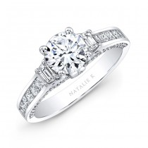 18k White Gold Trapezoid Diamond Side Stone Princess Cut Channel-set Shank Engagement Ring