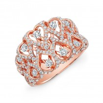 18K Rose Gold White Diamond Woven Fashion Band