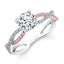 18k White and Rose Gold Twisted Shank Diamond Engagement Ring
