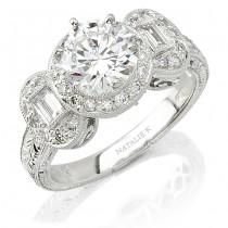 18k White Gold Diamond Engagement Semi Mount Ring NK6863-W