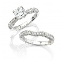 14k White Gold Pave Diamond Bridal Set - NK7194WE-W