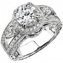 14k White Gold Three Stone Pear Diamond Engagement Semi Mount NK9048-W