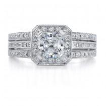 14k White Gold Split Shank Diamond Engagement Semi Mount Ring NK9165-W