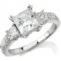 14k White Gold Princess Cut Trim Diamond Semi Mount - NK9174-W
