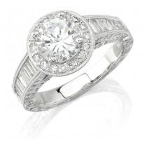 14k White Gold Halo Diamond Baguette Engagement Semi Mount Ring NK9810-W