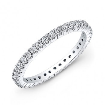 14k White Gold White Diamond Prong Set Eternity Band
