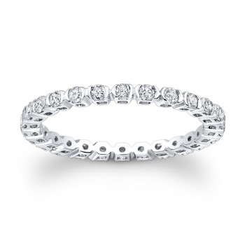18k White Gold Bezel Set Ladies Eternity Band