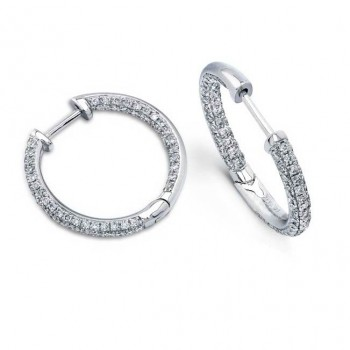 14k White Gold Pave Diamond Hoop Earrings