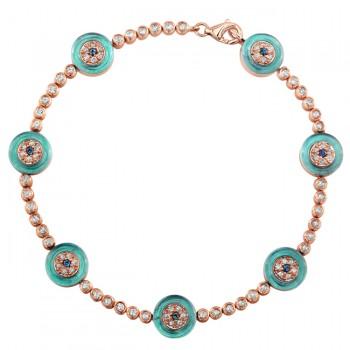 14k Rose Gold Diamond Sapphire Evil Eye Tennis Bracelet