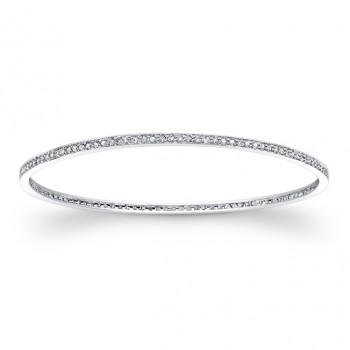 14k White Gold White Diamond Pave Set Bangle Bracelet