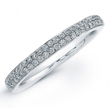 14k White Gold Micro Pave Diamond Wedding Band