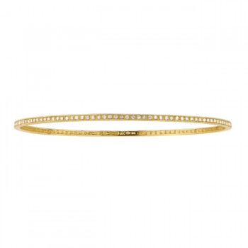 14k Yellow Gold Stackable Pave Diamond Bangle