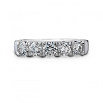 14k White Gold Five Stone Diamond Wedding Band