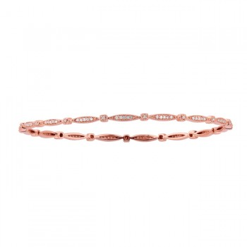14k Rose Gold Vintage Design Pave Bangle Bracelet