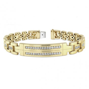 14k Yellow Gold Mens Diamond Bracelet