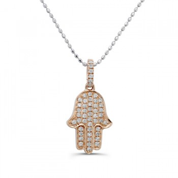 14k Rose Gold Diamond Pave Hamsa Pendant