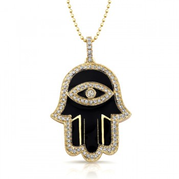 14k Yellow Gold Black Enamel Diamond Hamsa Pendant