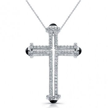 14k White Gold Ladies Diamond Cross Pendant