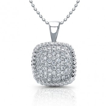 14k White Gold Pave Square Diamond Pendant