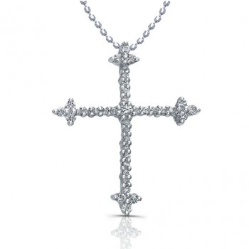 14k White Gold Minimal Diamond Cross Pendant