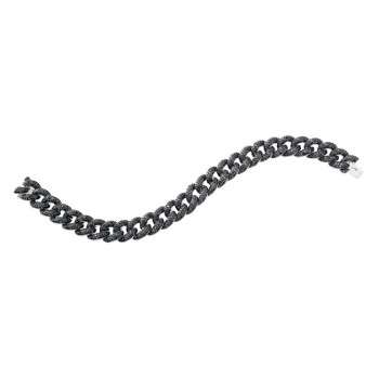 14k White Gold Micro Pave Black Diamond Mens Cuban Link Bracelet